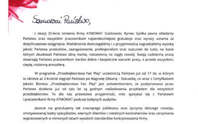List gratulacyjny – przedsiębiorstwo Fair Play